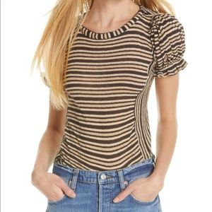 Free People Take One For The Team Ruffle Cuff Top